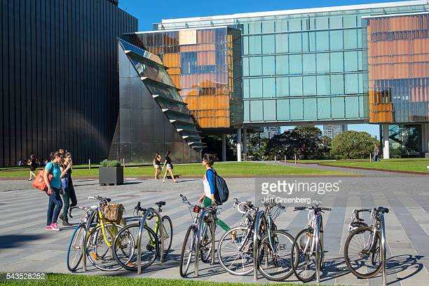 Australia Sydney University of Sydney education campus student New Law Building glass Fisher Library bicycles parked