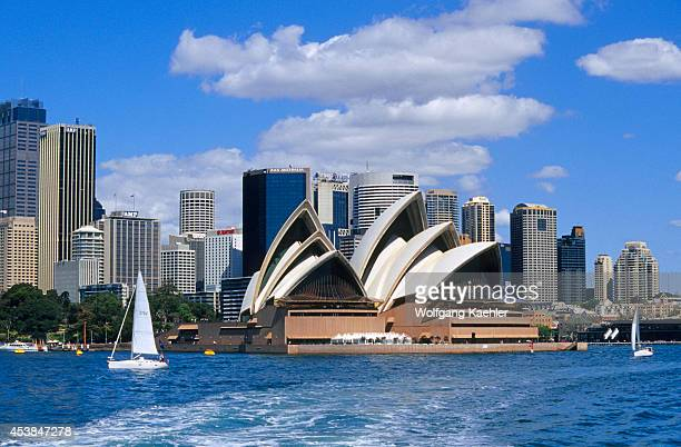 Australia Sydney View Of Opera House And City Skyline Sailboat