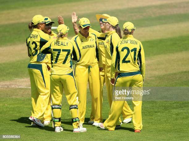 Australia team celebrate after dismissing Katie Perkins of New Zealand during the ICC Women's World Cup 2017 match between Australia and New Zealand...