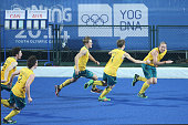Australia team celebrate winning in Hockey5s Men's Gold Medal Match on day eleven of the Nanjing 2014 Summer Youth Olympic Games at Nanjing YOG...
