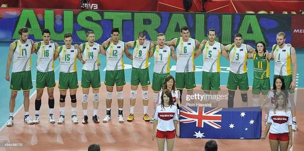 Australia team line up prior to the match during the FIVB World Championships match between Cameroon and Australia on August 31, 2014 in Wroclaw, Poland.