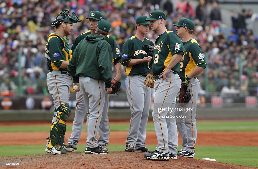 Australia team players talks in the bottom of eighth inning during the World Baseball Classic First Round Group B match between Australia and Chinese Taipei at Intercontinental Baseball Stadium on March 2, 2013 in Taichung, Taiwan.