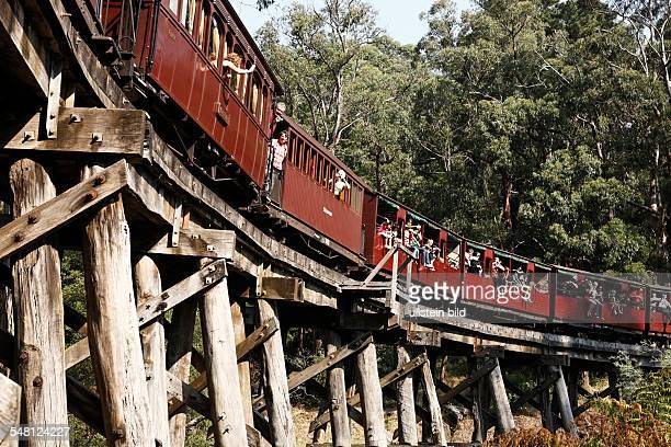 Australia Victoria historic trestle bridge at Dandenong Ranges built in 1899 today tourist attraction with steam railway 'Puffing Billy'