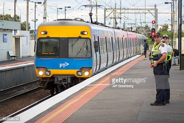 Australia Victoria Melbourne Broadmeadows Railway Station Metro Trains Rail Network public transportation platform police arriving train