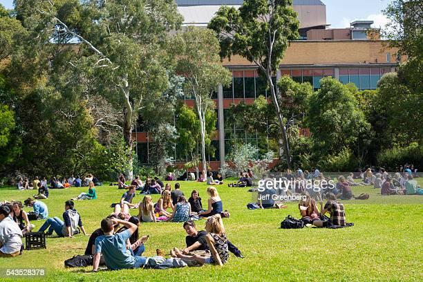 Australia Victoria Melbourne Carlton Parkville University of Melbourne campus school South Lawn student man woman boy girl teen Baillieu Library