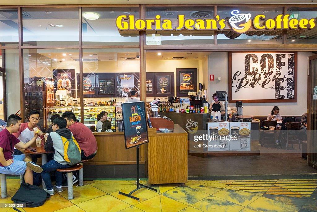 Australia Victoria Melbourne Central Business District CBD Chinatown Little Bourke Street Asian man friends Gloria Jean's Coffees cafe restaurant...