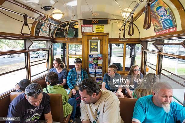 Australia Victoria Melbourne Central Business District CBD La Trobe Street tram trolley City Circle Line inside cabin car passengers riders historic