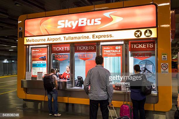 Australia Victoria Melbourne Central Business District CBD Southern Cross Station public transportation Sky Bus ticket window booth customers buying...