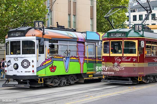 Australia Victoria Melbourne Central Business District CBD Spring Street City Circle Tram trolley public transportation historic