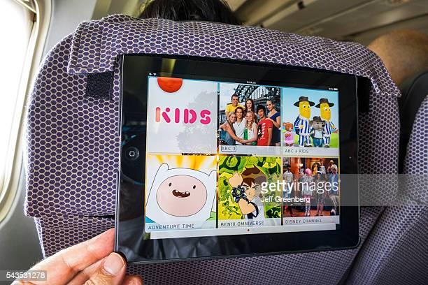 Australia Victoria Melbourne Tullamarine Airport MEL Qantas Airlines onboard airliner commercial seat iPad inflight kids entertainment cartoons...