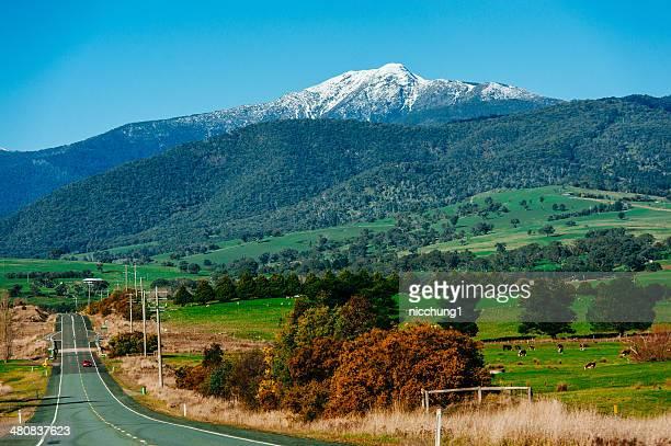 Australia, Victoria, Shire of Mansfield, Mt Bulle village, Snowcapped Mt Buller