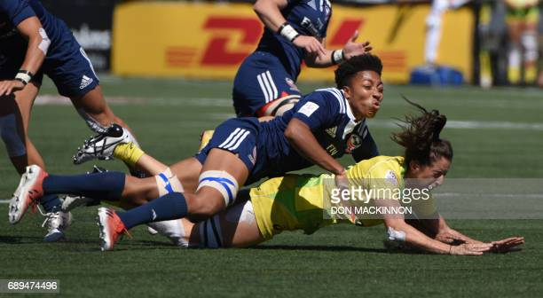 Australia vs USA on day two of HSBC Canada WomenÕs Sevens Rugby action at Westhills Stadium in Langford BC May 28 2017 / AFP PHOTO / Don MacKinnon