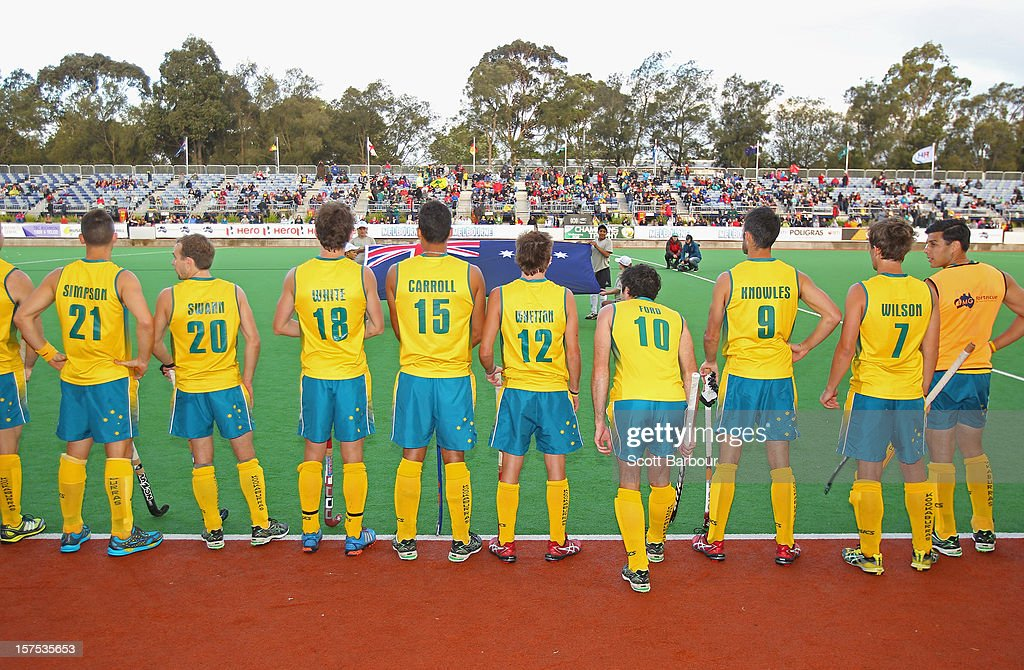 Australia wait to take to the pitch during the match between the Australia and Pakistan during day three of the Champions Trophy at the State Netball Hockey Centre on December 4, 2012 in Melbourne, Australia.