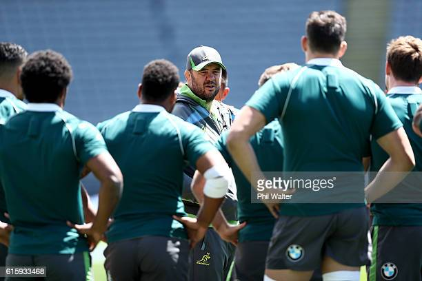 Australia Wallabies head coach Michael Cheika during the Australia Wallabies captain's run at Eden Park on October 21 2016 in Auckland New Zealand