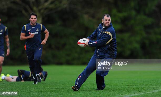 Australia Wallabies head coach Michael Cheika in action during a Wallabies training session at Treforest on November 4 2014 in Cardiff Wales