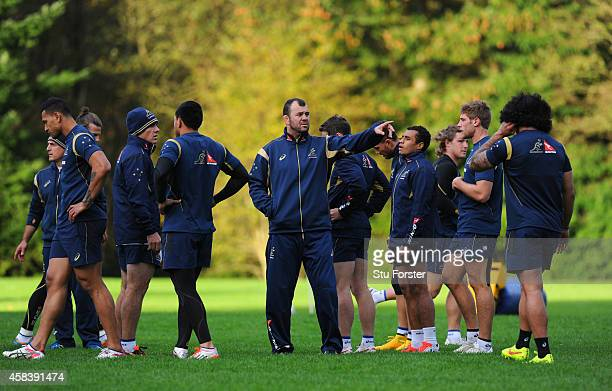 Australia Wallabies head coach Michael Cheika makes a point during a Wallabies training session at Treforest on November 4 2014 in Cardiff Wales