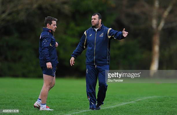 Australia Wallabies head coach Michael Cheika makes a point to fly half Brendan Foley during a Wallabies training session at Treforest on November 4...