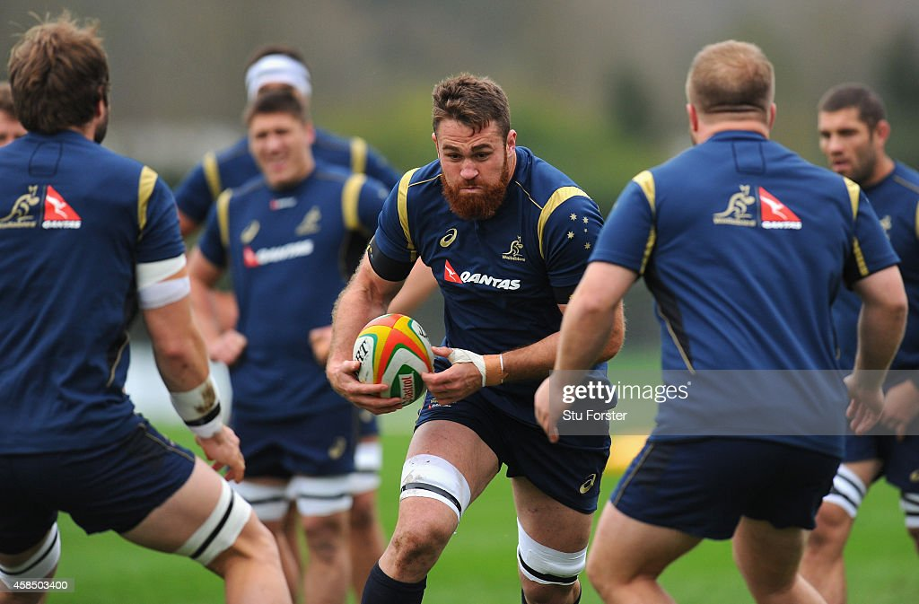 Australia Wallabies <a gi-track='captionPersonalityLinkClicked' href=/galleries/search?phrase=James+Horwill&family=editorial&specificpeople=637477 ng-click='$event.stopPropagation()'>James Horwill</a> (c) in action during a Wallabies training session at Treforest on November 6, 2014 in Cardiff, Wales.