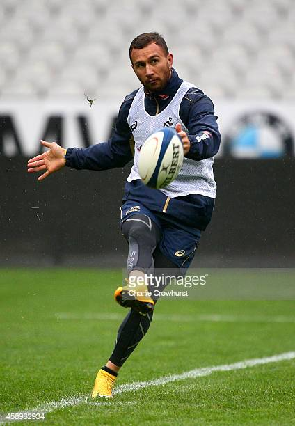 Australia Wallabies Quade Cooper in action during the Australia Captain's run ahead of tomorrows game against France at the Stade De France on...
