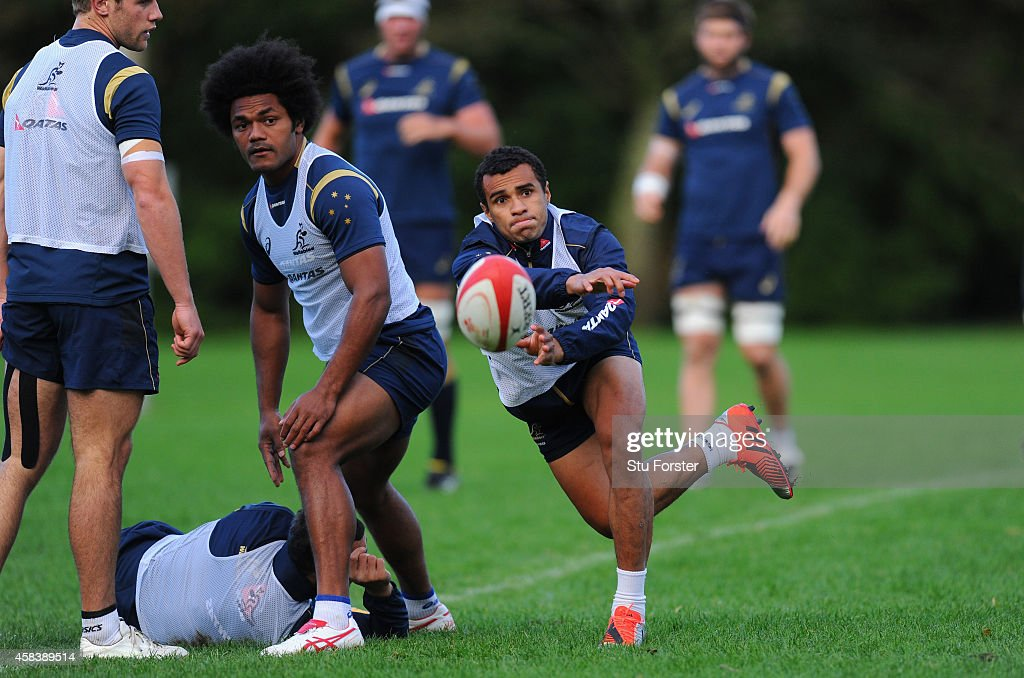 Australia Wallabies scrum half <a gi-track='captionPersonalityLinkClicked' href=/galleries/search?phrase=Will+Genia&family=editorial&specificpeople=4110822 ng-click='$event.stopPropagation()'>Will Genia</a> in action during a Wallabies training session at Treforest on November 4, 2014 in Cardiff, Wales.