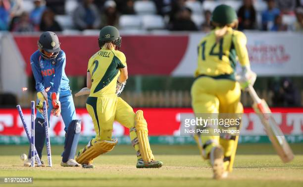 Australia Women's Alex Blackwell is bowled by India Women's Deepti Sharma during the ICC Women's World Cup Semi Final match at The County Ground Derby