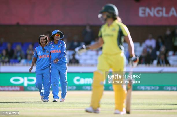 Australia Women's Ashleigh Gardner walks off after being bowled by India Women's Poonam Raut caught by Mithali Raj during the ICC Women's World Cup...