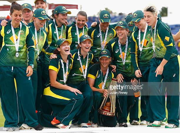 Australia Women's celebrate winning the Ashes during the 3rd NatWest T20 of the Women's Ashes Series between England and Australia Women at SWALEC...