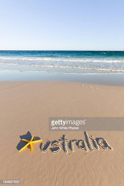 Australia written on a beach