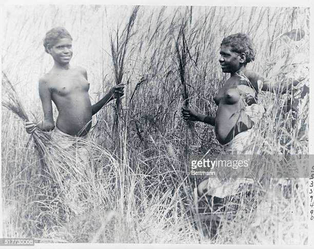 Young Aboriginal girls playing in the junglelike foliage which abounds in the Northern Territory of Australia