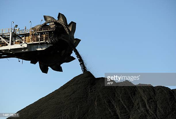STORY 'AustraliaclimatewarmingminingAsiaUNFEATURE' by BY This photo taken on April 25 2012 shows coal being stockpiled at the coal port of Newcastle...