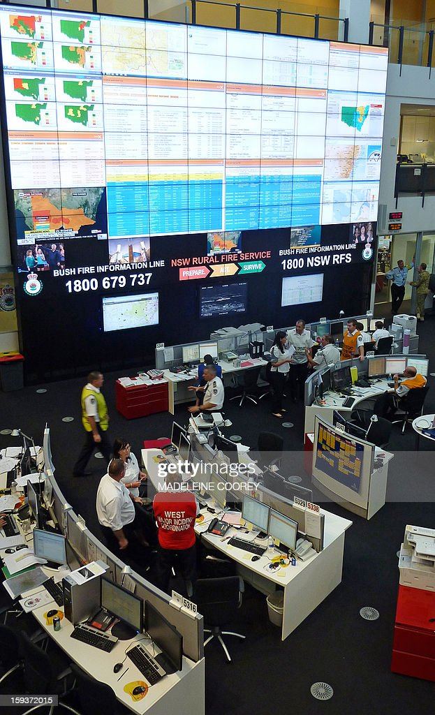 Australia-fire-weather-technology,FOCUS by Madeleine Coorey This photo taken on January 11, 2013 shows a general view of the state operations centre at the New South Wales Rural Fire Service in Sydney with its large digital screen tracking bushfires around Australia's most populous state. As dozens of wild and unpredictable bushfires break out in Australia's extreme heat military-style operations are in full swing at a state-of-the-art 'nerve centre' in populous New South Wales state. AFP PHOTO / Madeleine COOREY