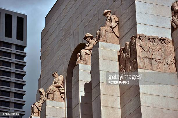 AustraliahistoryWWIGallipoliFOCUS by Martin Parry This photo taken on April 11 2015 shows details on the ANZAC War Memorial a monument completed in...