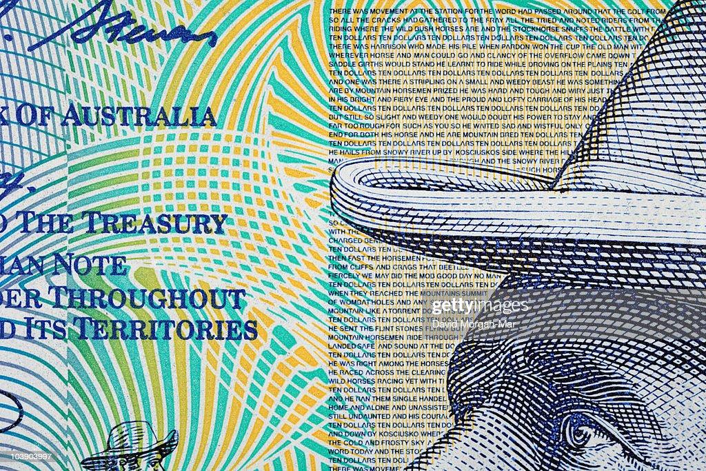 Australian $10 polymer banknote, detail : Stock Photo