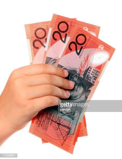 Australian 20 dollar notes cash in the hand