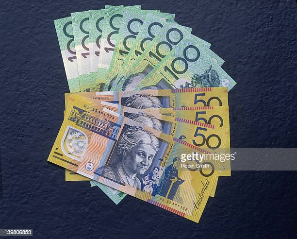 Australian 50 & 100 dollar notes in fan shape