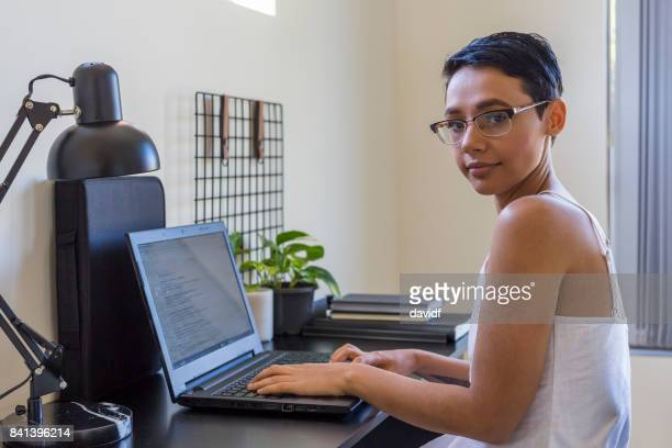 Australian Aboriginal Woman at Computer