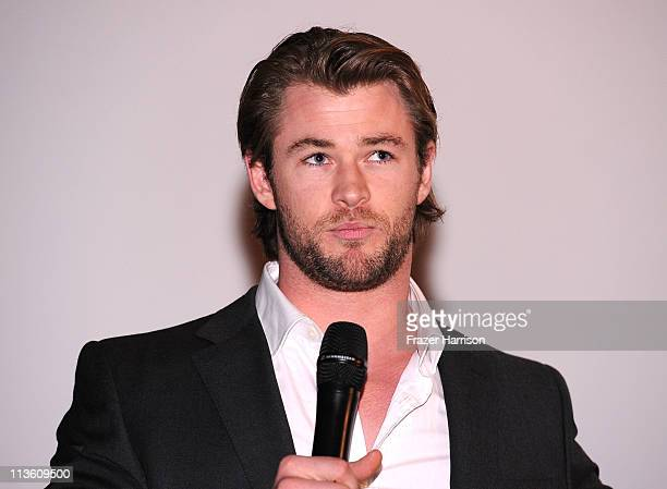 Australian actor Chris Hemsworth attends the Australians In Film screening of Marvel Paramount Pictures' 'Thor' at the Sherry Lansing Theatre...