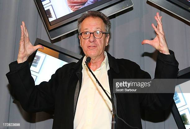 Australian actor Geoffrey Rush speaks as he attends the media preview of ''The Extraordinary Shapes of Geoffrey Rush' exhibition at the Arts Centre...