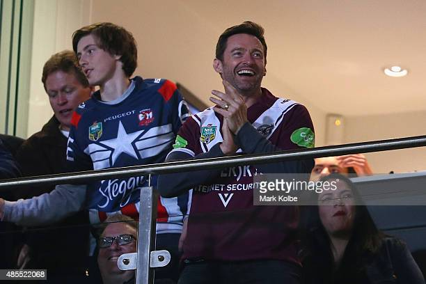 Australian actor Hugh Jackman watches on from the crowd during the round 25 NRL match between the Manly Warringah Sea Eagles and the Sydney Roosters...