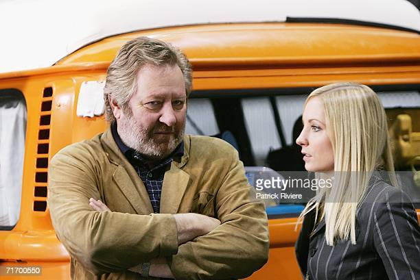 Australian actor John Wood and British actress Joanne Froggatt attend a media press conference to introduce the key cast of the new television...
