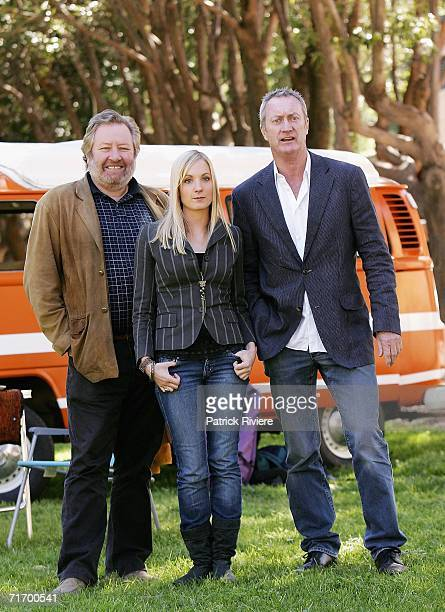 Australian actor John Wood British actress Joanne Froggatt and Australian actor Bryan Brown pose at the media conference to introduce the key cast of...