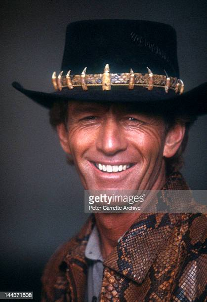 Australian actor Paul Hogan on the set of his new film 'Crocodile Dundee' in 1986 in New York City