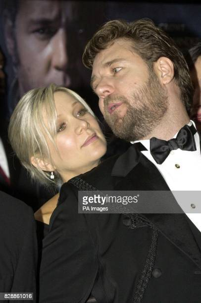 Australian actor Russell Crowe speaks with his wife Danielle Spencer at the Royal Premiere of 'Master and Commander The Far Side of the World'...