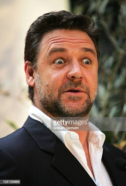 Australian actor Russell Crowe talks during a press conference to announce he will join the cast of 'Ben Hur' as the narrator at the Blue Hotel on...