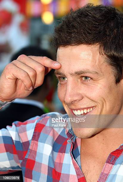 Australian actor Steve Peacocke looks on during a Heath Ledger tribute outdoor movie night at Burswood Park on February 12 2011 in Perth Australia...