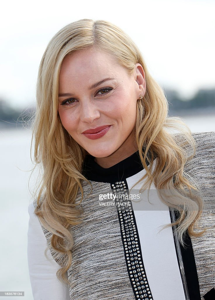 Australian actress Abbie Cornish poses during a photocall for the TV series 'Klondike' as part of the Mipcom international audiovisual trade show at the Palais des Festivals, in Cannes, southeastern France, on October 7, 2013. AFP PHOTO / VALERY HACHE