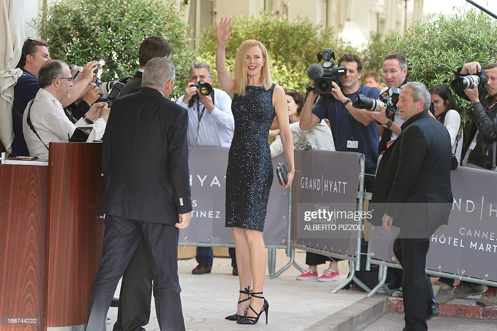 Australian actress and member of the Feature Film Jury, Nicole Kidman, waves on May 14, 2013 as she arrives at the Martinez Hotel in Cannes to attend a photocall of the Jury on the eve of the 66th edition of the Cannes Film Festival. Cannes, one of the world's top film festivals, opens on May 15 and will climax on May 26 with awards selected by a jury headed this year by Hollywood legend Steven Spielberg.