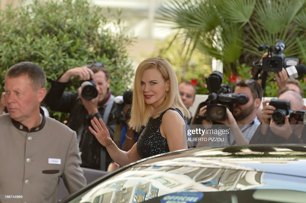 Australian actress and member of the Feature Film Jury Nicole Kidman waves on May 14, 2013 as she arrives at the Martinez Hotel in Cannes to attend a photocall of the Jury on the eve of the 66th edition of the Cannes Film Festival. Cannes, one of the world's top film festivals, opens on May 15 and will climax on May 26 with awards selected by a jury headed this year by Hollywood legend Steven Spielberg.