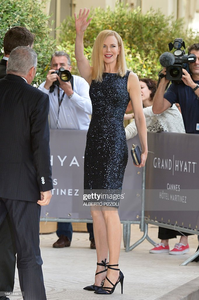 Australian actress and member of the Feature Film Jury, Nicole Kidman waves on May 14, 2013 as she arrives at the Martinez Hotel in Cannes to attend a photocall of the Jury on the eve of the 66th edition of the Cannes Film Festival. Cannes, one of the world's top film festivals, opens on May 15 and will climax on May 26 with awards selected by a jury headed this year by Hollywood legend Steven Spielberg.