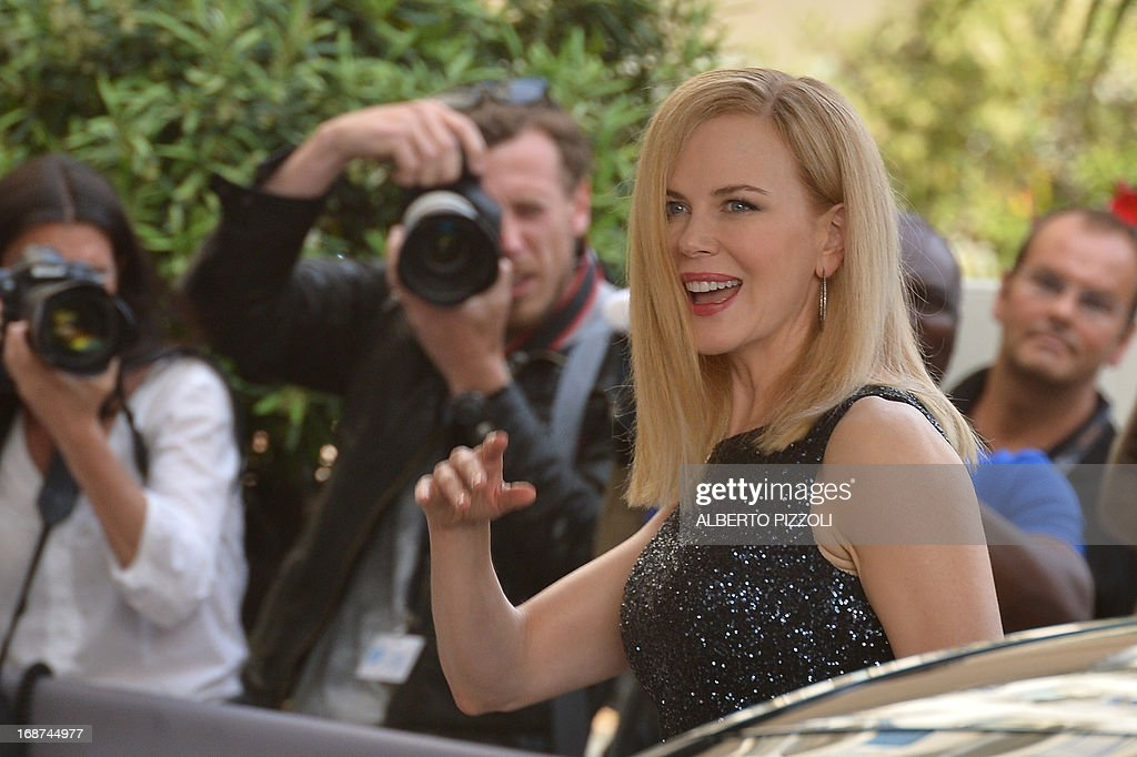 Australian actress and member of the Feature Film Jury, Nicole Kidman smiles on May 14, 2013 as she arrives at the Martinez Hotel in Cannes to attend a photocall of the Jury on the eve of the 66th edition of the Cannes Film Festival. Cannes, one of the world's top film festivals, opens on May 15 and will climax on May 26 with awards selected by a jury headed this year by Hollywood legend Steven Spielberg.